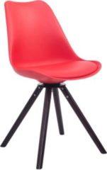 CLP Retrostuhl TROYES RUND mit Kunstlederbezug und hochwertiger Sitzfäche I Stuhl mit drehbarem Schalensitz und massiven Holzbeinen