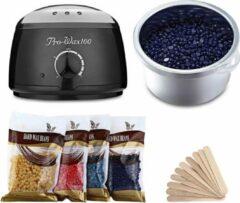 A&K Verwarmde Wax Ontharingsapparaat - Inclusief 4x100g Hars Beans + 10 Sticks - Harsapparaat - Heater Wax Hair Remover - Zwart