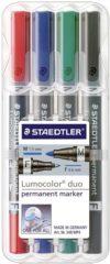 Rode Staedtler 348 WP4 Textmarker Lumocolor, Duo Rood, Blauw, Groen, Zwart Ronde vorm 0.6 - 1.5 mm 1 stuks