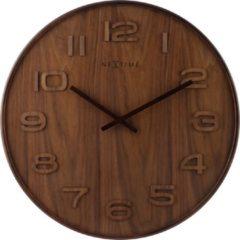 NeXtime NE-3096BR Wandklok Dia. 35 Cm, Hout, Bruin, 'Wood Wood Medium'