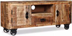 Bruine VidaXL Tv-meubel ruw mangohout 120x30x50 cm