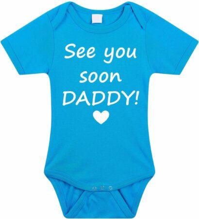 Afbeelding van Merkloos / Sans marque Baby rompertje met leuke tekst   See you soon daddy!  zwangerschap aankondiging   cadeau papa mama opa oma oom tante   kraamcadeau   maat 56 blauw