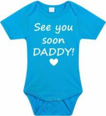 Merkloos / Sans marque Baby rompertje met leuke tekst | See you soon daddy! |zwangerschap aankondiging | cadeau papa mama opa oma oom tante | kraamcadeau | maat 56 blauw
