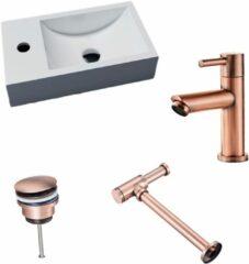 Lambini Designs Recto solid surface fonteinset met koper kraan links en toebehoren