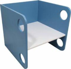 Playwood Houten kubus stoel - Peuterstoel - Multiplex - Blauw met witte zitting
