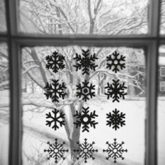 Zwarte Namenenzo Sticker Raamsticker kerst A4 - Sneeuwvlokken   Kerst stickers   kerststickers raam   Gratis Verzending!