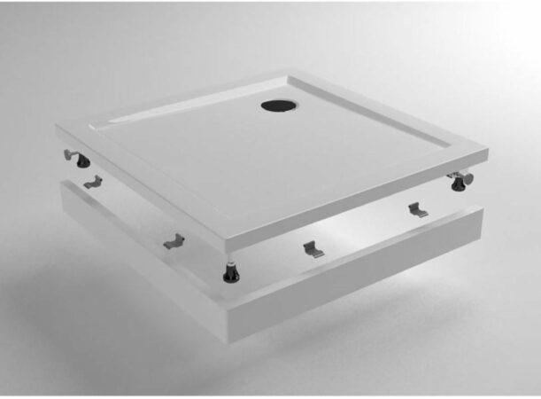 Afbeelding van Praya Wiesbaden voorzetpaneel met poten voor vierkante douchebak acryl 90x90x4 wit 21.3521