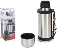 Zilveren Gerim Thermosfles / isoleerfles RVS met draagriem 550 ml - Thermosflessen en isoleerkannen voor warme / koude dranken onderweg
