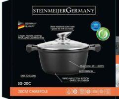 SteinMeijergermany Marble soep/braadpan - Met glazen afdekplaat zwart - 34 CM 13 Liter VOOR INDUCTIE