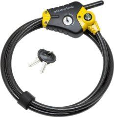 Master Lock spiraalkabelslot met sleutel 'Python' zwart/geel staal 180 cm