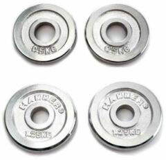 Hammer Fitness Hammer Halterschijven - Chroom - 30mm - per Paar - met grepen vanaf 5kg - 2x 0,5 kg + 2x 1,25 kg - Zilver - 30mm