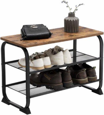 Afbeelding van Bruine Vasagle Schoenenrek hout metaal en zitbank| industrieel schoenrek, 2 gaasplanken, afgerond hoeken 66x30x45cm