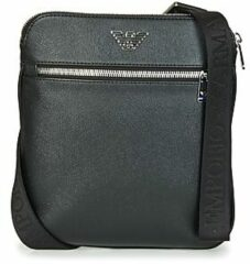 Zwarte Emporio Armani Men's Small Flat Logo Messenger Bag - Black