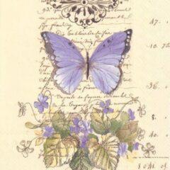 Paarse IHR - MOMENTS OF ROMANCE CREAM - papieren servetten - Bloemen - Vlinder
