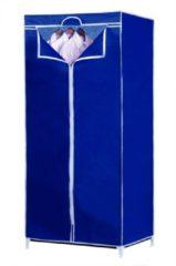 Merkloos / Sans marque Garderobekast - Textiel - met Ritssluiting - Metalen Frame - Blauw