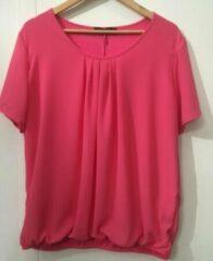 Merkloos / Sans marque Pink Lady dames blouse roze uni - maat XL