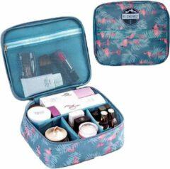 Blauwe Reismonkey Toilettas met Flamingo Print – Voor Op Reis/Vakantie/Kamperen – Travel Bag Organizer voor Dames/Meisje – Make-up Tas/Cosmetic Bag – Reisartikelen - Kerstcadeau - Kerstcadeau voor dames/vrouwen
