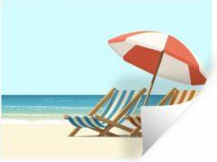StickerSnake Muursticker Zomerse Illustraties - Zomerse illustratie van twee strandstoelen - 160x120 cm - zelfklevend plakfolie - herpositioneerbare muur sticker XXL / Groot formaat!