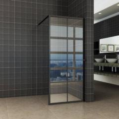 Inloopdouche Horizon 100x200 cm Inclusief Mat Zwart Raster en NANO Glas