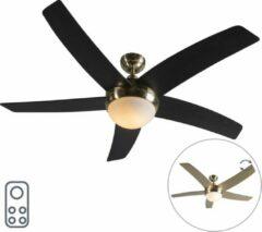 QAZQA Cool 52 Plafond ventilator met lamp - 1 lichts - Ø130cm - Goud/messing