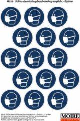 Blauwe Moire BV Pictogram sticker 75 stuks M016 - Mondkapje verplicht mondmasker ademhalingsbescherming - 50 x 50mm - 15 stickers op 1 vel