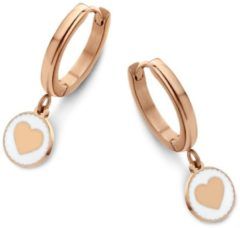 CO88 Collection Beloved 8CE 70098 Stalen Oorringen - Hart 8 mm - Roségoudkleurig / Wit