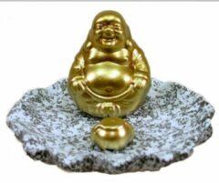 Gouden Happy Home Stuff Wierookhouder Lachende Boeddha Goud
