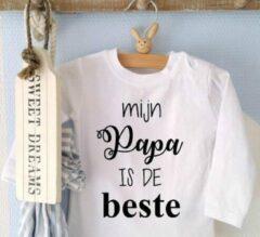 Merkloos / Sans marque Shirtje baby tekst jongen meisje Mijn papa is de beste | Lange of korte mouw T-Shirt | wit zwart | maat 56 62 68 74 80 86 92 98 104-110 | eerste vaderdag kind cadeautje liefste leukste unisex kleding babykleding