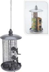 Zilveren Animal King Vogelvoerhouder - Buitenvogel - Smulstation - Gratis pinda's/Mezenbollen/Zaad
