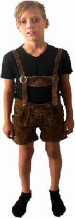 Afbeelding van Lederhose tiroler broek kinderen echt leder bruin maat 128