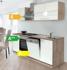 Respekta kitchen economy Respekta Küchenzeile KB220ESW 220 cm Weiß-Eiche Sägerau Nachbildung