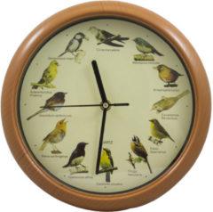 Bruine ComfortTrends Klok met vogelgeluiden - Ieder uur een ander geluid