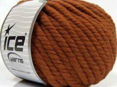 Ice yarns Wol breien met breinaalden maat 10 – 12 mm. – dikke koper kleur breiwol kopen pakket van 3 bollen garen 100 gram per bol 100% wol – breigaren van een fijne kwaliteit