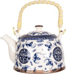 Clayre & Eef Theepot met Filter 6CETE0085 18*14*12 cm / 0,8L - Blauw Porselein TheekanJapanse TheepotChinese Theepot