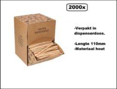 Bruine Thema party BIO Roerstaafjes 2000 stuks hout in dispenser box - Roer staafjes koffie melk suiker hout festival thema feest verjaardag werk lepel