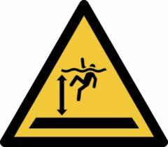 Gele Tarifold Pictogram bordje Waarschuwing: diep water | 200 * 176 mm - verpakt per 2 stuks