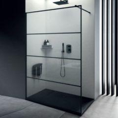 Inloopdouche Lacus Tremiti Wall 120x200 cm Helder Glas Stabilisatiestang Zwart