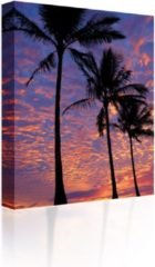 Blauwe Sound Art - Canvas + Bluetooth Speaker Palm Trees At Sunset (23 x 28cm)
