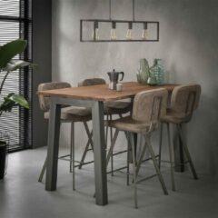 Grijze Livin24 Bauhauschairs Industriële Bartafel Adam - Acaciahout - 147x80 cm