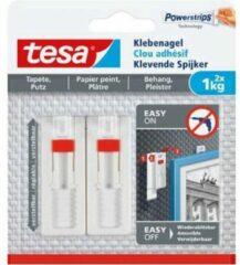 Witte Tesa - 77774 - verstelbare klevende spijker voor behang en pleisterwerk - tot 1kg - 8x 2 stuks