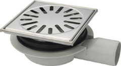Zilveren Tegeldepot Doucheput Aquaberg ABS Vloerput RVS Opzetstuk RVS Rooster Laag Model Zijuitlaat 50mm 150x150mm PPC Reukafsluiter