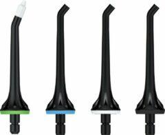 LifeGoods Waterflosser Opzetstukjes - Jet Tips - Vervangingsset voor Flosapparaat - Set: 4 Stuks - Zwart