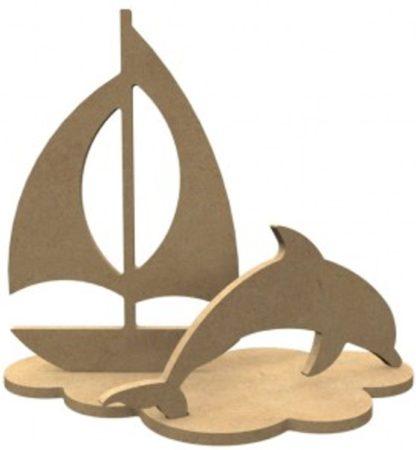 Afbeelding van Naturelkleurige Gomille MDF Figuren Dolfijn Set 24x21 cm