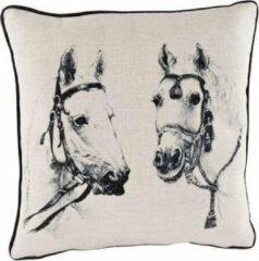 Cosy @ Home Kussen Linnen Zwarte Paarden - 34x34cm