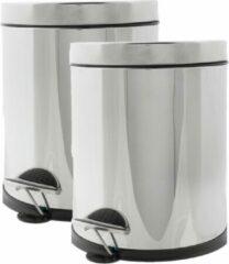 Cosy&Trendy 3x stuks vuilnisbakken/pedaalemmers zilver 5 liter 25 cm RVS - Afvalemmers - Prullenbakken