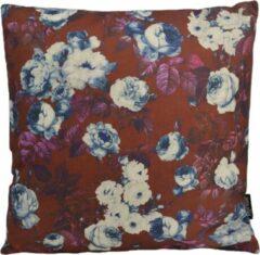 Donkerrode Gek op Kussens! Retro Flowers Kussenhoes | Katoen / Linnen | 45 x 45 cm