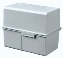 HAN 977-11 977-11 Kaartenbox Lichtgrijs Aantal kaarten (max.): 300 kaarten DIN A7 dwars #####Stahlscharnier, #####Deckel als zusätzlicher Trog nutzbar