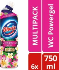 Glorix WC Powergel Toiletreiniger Pink Flower - 6 x 750 ml - Voordeelverpakking