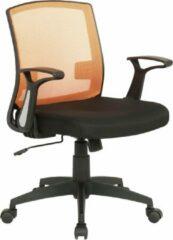 Luxe Comfort Bureaustoel - Kantoorstoel - Mobiel - Verstelbare armleuning - Microvezel - Oranje/zwart - 62x52x97 cm
