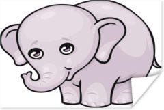 PosterMonkey Een cartoon illustratie van een baby olifant poster 40x30 cm - klein - Foto print op Poster (wanddecoratie woonkamer / slaapkamer) / Wilde dieren Poster